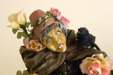 Rose Prince - collectible one of a kind polymer clay art doll by doll artist Peter Wolf.