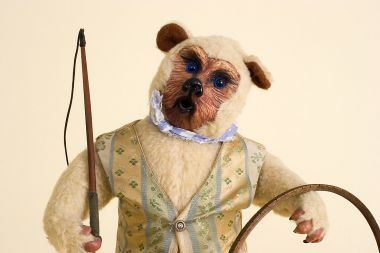 Trainer Bear - collectible one of a kind polymer clay art doll by doll artist Peter Wolf.