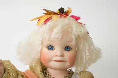 Autumn Angel - collectible limited edition porcelain soft body art doll by doll artist Yolanda Bello.