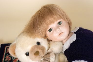 L'Amico Preferito - collectible one of a kind finished porcelain soft body art doll by doll artist Eva Benaglia.