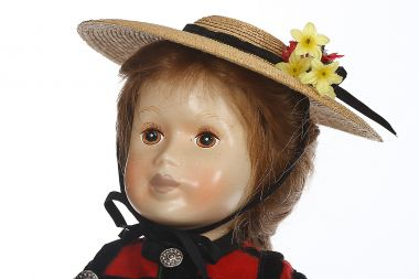 Mimi - limited edition porcelain soft body collectible doll  by doll artist Anker Dolls.