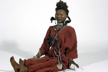 Wodaabe Man no.2 - collectible one of a kind finished porcelain art doll by doll artist Uta Brauser.