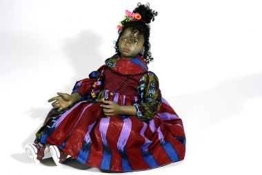 Black Girl no.32 - collectible one of a kind finished porcelain art doll by doll artist Uta Brauser.