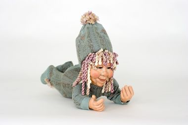 Dust Scholoozer - collectible limited edition cultured glass art doll by doll artist Pat Thompson.
