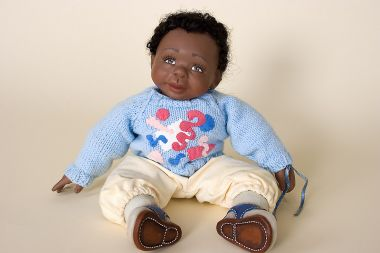 Jordan boy black powder blue - collectible limited edition resin art doll by doll artist Joanne Gelin.