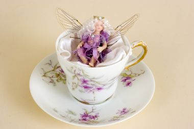 Demitasse Fairy no.2 - collectible one of a kind porcelain art doll by doll artist Susan Snodgrass.