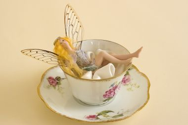 Tea Cup Fairy TC05 - collectible one of a kind porcelain art doll by doll artist Susan Snodgrass.