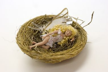 Blonde Fairy in Nest no.002 - collectible one of a kind porcelain art doll by doll artist Michelle Robison.