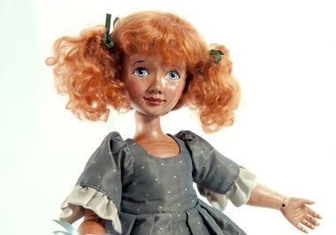 Detail image of Mary Mary Quite Contrary wood art doll by Marlene Xenis