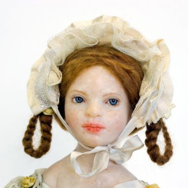 Small Girl with Bouquet DA6 - collectible one of a kind polymer clay art doll by doll artist Edna Dali.