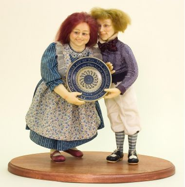 Jack Sprat and Wife - collectible one of a kind polymer clay art doll by doll artist Kathryn Walmsley.