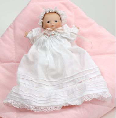 Tiny Bye Lo Baby - limited edition porcelain collectible doll  by doll artist Wendy Lawton.