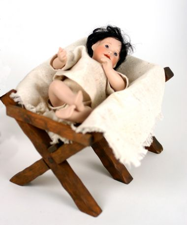 Little Drummer Boy - limited edition porcelain and wood collectible doll  by doll artist Wendy Lawton.