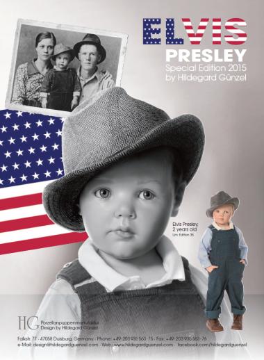 Photo of Elvis Presley wax over porcelain, limited edition portrait doll by doll artist Hildegard Gunzel.
