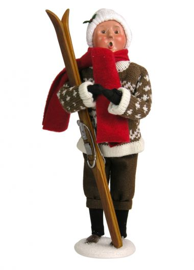 Woman with Skis - collectible limited edition mixed media caroler figurine by Byers' Choice, Ltd.