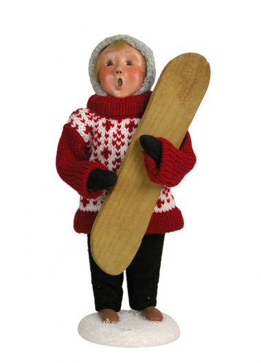 Boy with Snowboard - collectible limited edition mixed media caroler figurine by Byers' Choice, Ltd.