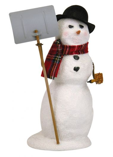 Snowman with Snow Shovel - collectible limited edition mixed media caroler figurine by Byers' Choice, Ltd.