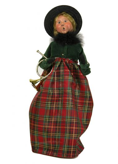 Woman with Instrument - collectible limited edition mixed media caroler figurine by Byers' Choice, Ltd.