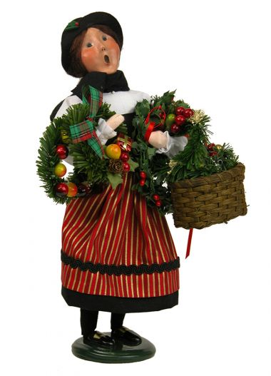 Crier Selling Wreaths - collectible limited edition mixed media caroler figurine by Byers' Choice, Ltd.