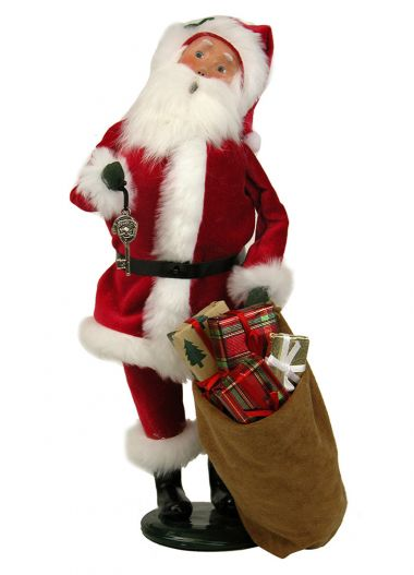 Red Velvet Santa with Magic Key - collectible limited edition mixed media caroler figurine by Byers' Choice, Ltd.