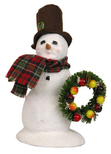 Snowman with Wreath sm - collectible limited edition mixed media caroler figurine by Byers' Choice, Ltd.