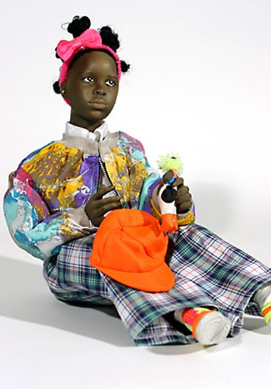 Black Girl no.16 - collectible one of a kind finished porcelain art doll by doll artist Uta Brauser.