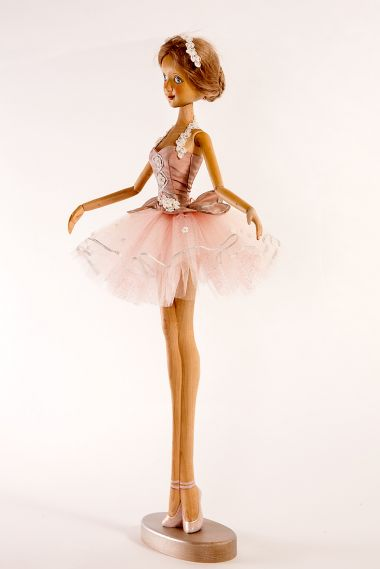 Detail image of Flamingo Ballerina wood art doll by Marlene Xenis