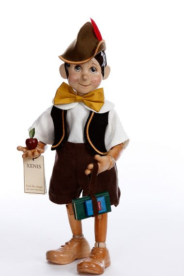 Collectible Limited Edition Wood doll Pinocchio Off to School by Marlene Xenis