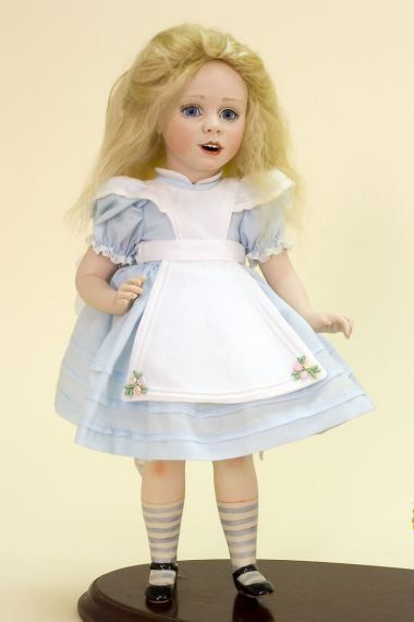 Alice and Rabbit - collectible limited edition porcelain art doll by doll artist Andrea Robbins.