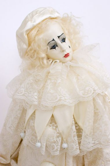 Collectible Limited Edition Wax over porcelain doll Muse & Pierrot by Hildegard Gunzel