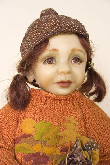 Murphy - collectible one of a kind polymer clay art doll by doll artist Joanne Gelin.