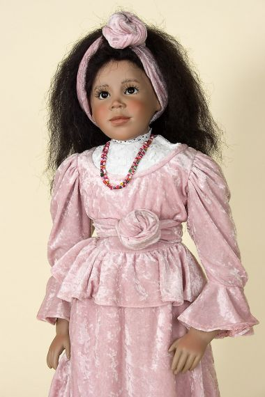 Afrah - collectible limited edition porcelain soft body art doll by doll artist Lothar Grossle-Schmidt.