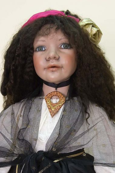 Maruska Gypsy - collectible limited edition porcelain soft body art doll by doll artist Bev Saxby.