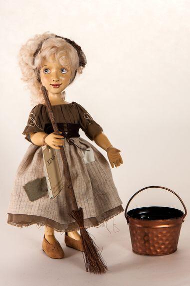 Dolls Art Dolls Scullery Maid Cinderella With Backdrop