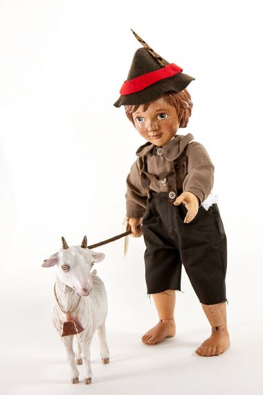 Main image of Peter and Goat from Heidi wood art doll set by Marlene Xenis