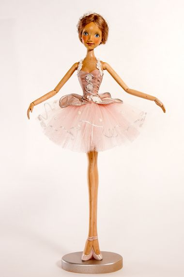 Main image of Flamingo Ballerina wood art doll by Marlene Xenis