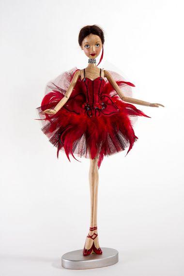 Main image of Prima Ballerina Firebird wood art doll by Marlene Xenis