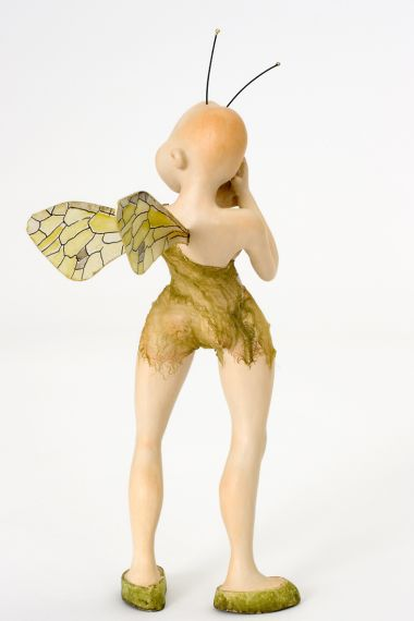 Elf no.21 - collectible one of a kind paperclay art doll by doll artist Tine Kamerbeek.
