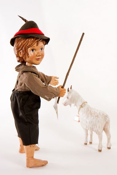 Detail image of Peter and Goat from Heidi wood art doll set by Marlene Xenis