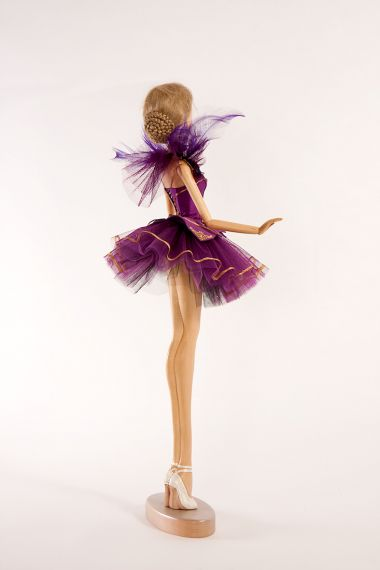 Detail image of Violet Ballerina wood art doll by Marlene Xenis