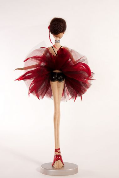Detail image of Prima Ballerina Firebird wood art doll by Marlene Xenis