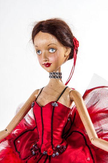 Detail image of Prima Ballerina Firebird wood art doll by Marlene Xenis