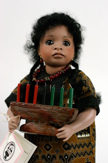 Kwanzaa - limited edition porcelain and wood collectible doll  by doll artist Wendy Lawton.