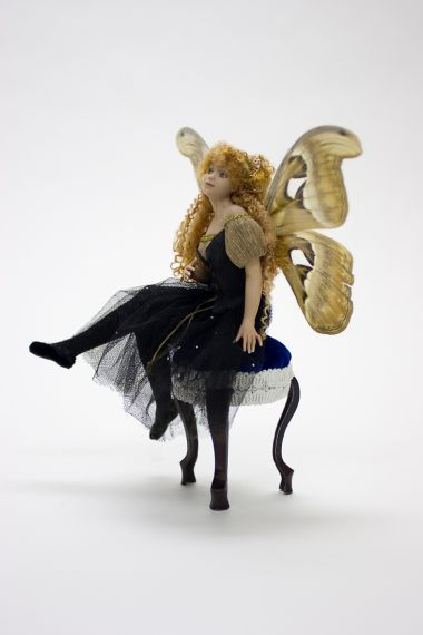 Seated Fairy - collectible one of a kind porcelain art doll by doll artist Michelle Robison.
