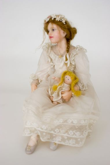 Collectible One of a Kind Polymer Clay doll Ballerina With Rag Doll by Avigail Brahms
