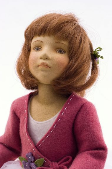 Abria - collectible limited edition felt molded art doll by doll artist Maggie Iacono.