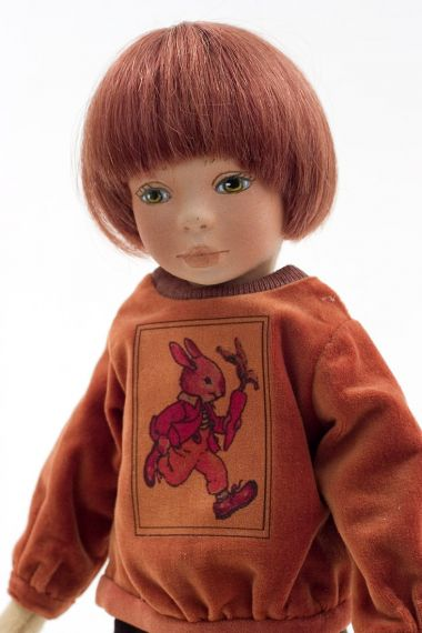 Ethan - collectible limited edition felt molded art doll by doll artist Maggie Iacono.