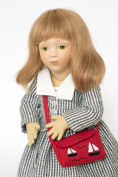 Whitney - collectible limited edition felt molded art doll by doll artist Maggie Iacono.