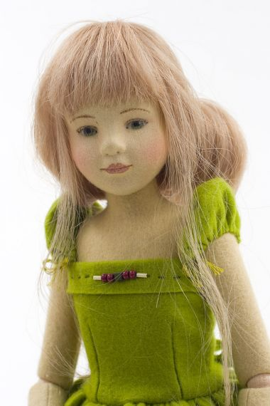 Michelle - collectible limited edition felt molded art doll by doll artist Maggie Iacono.