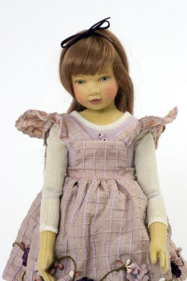 Allison - collectible limited edition felt molded art doll by doll artist Maggie Iacono.